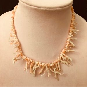 VINTAGE HAWAIIAN ANGEL SKIN BRANCH CORAL NECKLACE